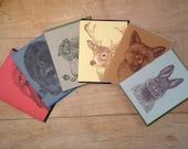 Box Set of 6 Woodland Creatures Cards Original Illustrations Letterpress Printed