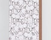 Woodland | Greetings Card with Illustrated Pattern Featuring Deers, Owls, Rabbits, Foxes and more!
