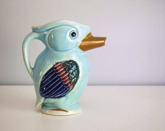 1940s Toucan Pitcher Japan Pottery Vintage Ceramic Mid Century Hand Painted Parrot Cottage Chic Decor Blue Bird Figural Creamer Retro Kitsch