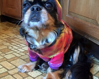 Tye Tie Dye Cotton Hoodie Medium T Shirt Yorkie Chihuahua Small Dog Indigo Vat Dye-Carla Smale