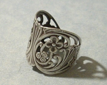 Adjustable Silver Floral Ring, Floral Filigree Ring, Wrap Ring