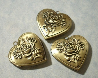3 Bronze Heart Lockets, Raised Floral Lockets, Memory Locket Pendants
