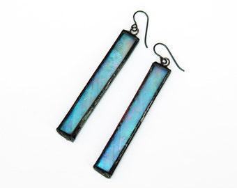 EARRINGS - Stained Glass Earrings - Blue Iridescent Earrings - Rectangle Earrings
