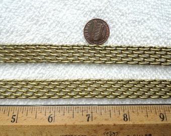 4 Feet of Quality Vintage Brass Chain/Band, 14mm Wide, 3mm Thick
