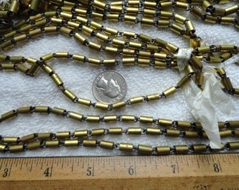 10 Feet of Vintage Bar/Tube Chain, Shiny Brass Tubes Over Steel Chain, 5mm x 7mm