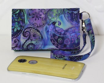 Cell Phone Wallet Wristlet for your Smart Phone With Card Wallet / iPhone 5/6 / Galaxy / Moto X / NEW STYLE TECH / Blue Purple Paisley Batik