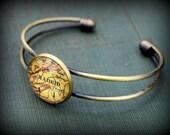 Madrid Map Bangle Bracelet - Custom Map Jewelry - Spain - Destination Wedding Gift