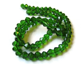 4mm Emerald Green Glass Bicone Beads