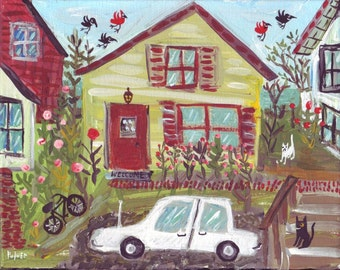 Charming House in Neighborhood Original Folk Art Painting on Canvas -Whimsical  Ocean Cottage Landscape  Art - Cat Wall Decor Artwork