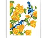 """Scrub Jays in Flannel Bush 8"""" x 10"""" Art Reproduction"""