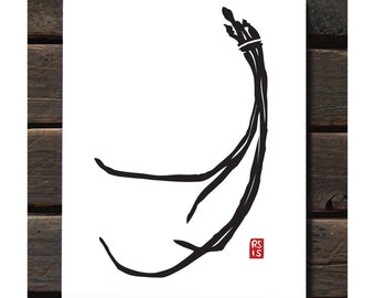 "Chinese Long Bean 11""x14"" Letterpress Art Print"