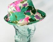 Cotton Sunhat in Colorful Tropical Floral Print - Womens, Girls Hats, Summer Hat, Pink, Turquoise, Lavender, Flower Sunhat, Beach Hat