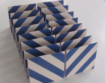 Mini Cards 16 blue stripe  - blank for thank you notes 3 x 3