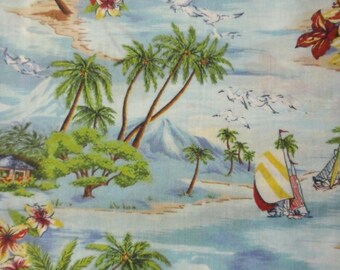 Palm trees tropical island fabric - 1 1/3 yards