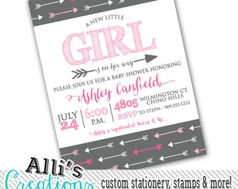 Printable Grey and Pink Arrow Girl Baby Shower Invitation PDF to send to printer of your choice - Baby Shower