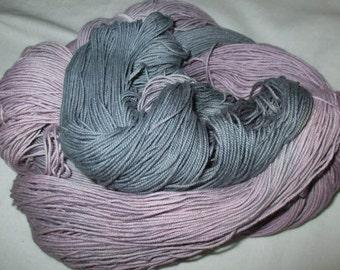 Handpainted Soft 3 ply Ring Spun Cotton Yarn  -DUSTY GRAY ROSE -  490 yds