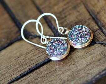 Druzy Gold Earrings, Green Agates Bezel Wrapped Drops in 14k Gold Filled, Mermaid Fashion - Seafarer