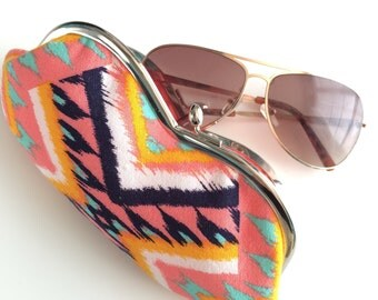 Coral Pink Tribal Sunglasses Case - Coral and White Chevron Sunglass or Eyeglass Clutch