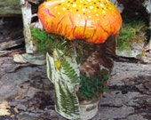 Little Orange Mushroom Hut Fairy House Made out of Birch Bark Great for Holiday Gift
