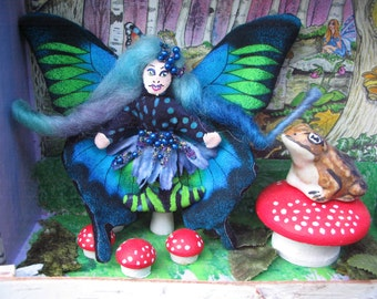 Teeny Tiny 2 and a half inch Blue and Green Faerie