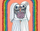 Gay Marriage Day of the Dead Skeleton Brides Signed Art Print by Mister Reusch