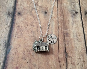 Log cabin initial necklace - cabin jewelry, log cabin necklace, woodland necklace, camping necklace, silver cabin necklace, camping jewelry