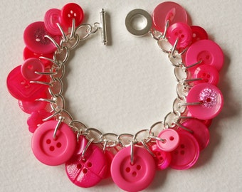 Button Bracelet Shocking Candy Pink