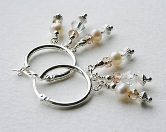 Charm Earrings Sterling Silver Earrings Pearl Crystal Chandelier