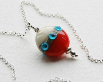 Sterling Silver Glass Lamp Work Bead Charm Necklace