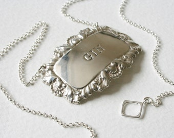 Gin Charm Necklace Sterling Silver Vintage Decanter Label Mother's Ruin
