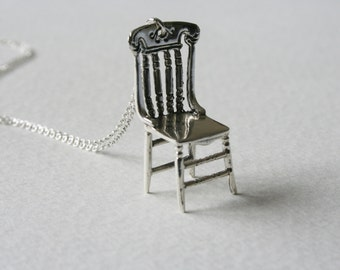 Silver Chair Sterling Silver Charm Necklace Teeny Storytelling Wishing Chair