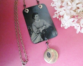 Antique Tintype Necklace Assemblage with Locket. Emily