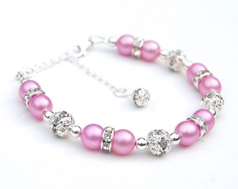 Pink Pearl Bracelet, Bridesmaid Jewelry, Candy Pink Pearl Rhinestone Bracelet, Bridesmaid Gifts, Pink Wedding