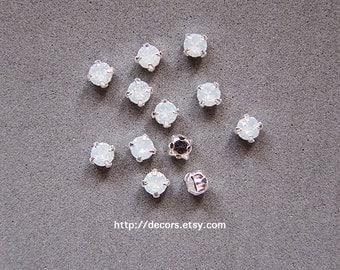 Set of 12 Opal White 4mm Swarovski Chaton Montees,53200 Sew On Rhinestones,PP31 (3.9mm),SS16 Silver Plated Settings,Swarovski Sew On Chatons