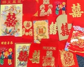 Chinese Lucky Red Envelope Art ACEO Card Making Embellishment - F - DOUBLE HAPPINESS