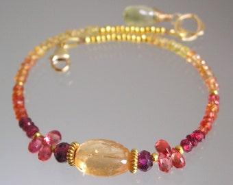 Slender Pink Orange Beaded Gemstone Bracelet, Layering, Cosmopolitan, Imperial Topaz, Sapphire, Red Spinel, Original Design, Made to Order