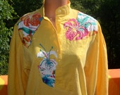 80s vintage sweater HENLEY knit yellow beaded floral women's linen shirt blouse applique Small Medium marc d'alcy 70s
