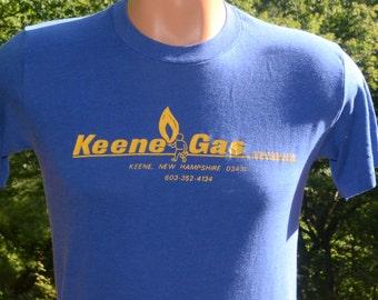 vintage 70's t-shirt KEENE new hampshire gas house gang soft thin 80s tee Medium Small nh