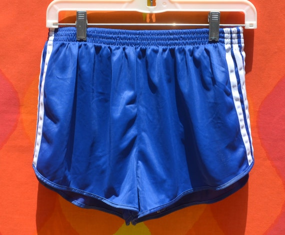 Vintage 70s Shorts ADIDAS Running Jogging Poly Blue Stripe