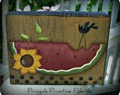 Primitive Watermelon Sunflower Crow Wood Shelf Sitter Block-Home Decor