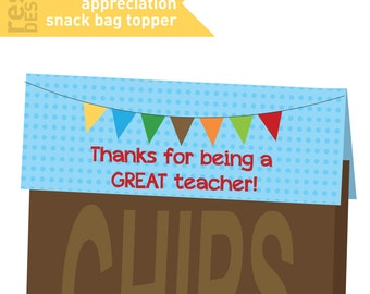 Teacher Appreciation Snack Bag Topper Printable - Bag Topper - Thank you