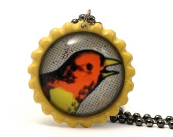 The Beak - Mexican Loteria Image Necklace in Flattened Colored Bottle Cap Necklace