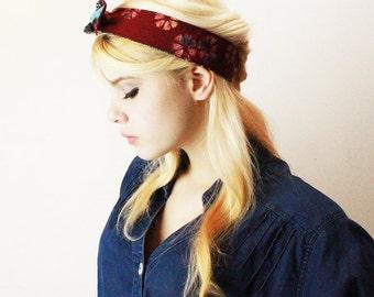 Headband Vintage batik boho knot tie turban black turquoise ruby burgundy
