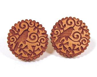 Wooden Post Earring Studs - Bird Scroll Scallop Design