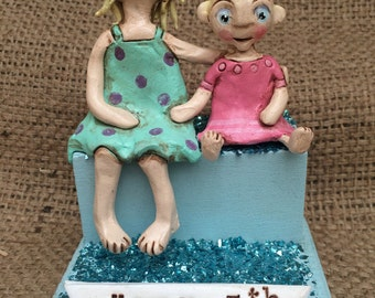 Customized Family TWO children clay folk art sculpture for your birthday anniversary or special occasion
