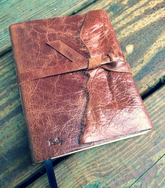 USA MADE! Brown Winged Hand Torn Personalized Rustic Leather Journal Sketchbook Notebook Wedding Guest Book Travel Journal in Bronze Bourbon