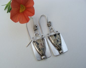 Silver Dalmation Jasper Dangle Oxidized Earrings