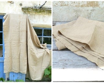 "Vintage old French 1900 organic Handwoven linen  / Hemp grain sack fabric 62 "" x 75.6 """