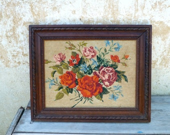 Vintage 1930/1950 old French floral tapestry needlepoint canvas