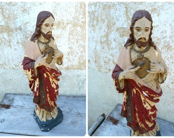 Vintage Antique 1920/1930 French Jesus plaster statue religious catholica / painting timeworn